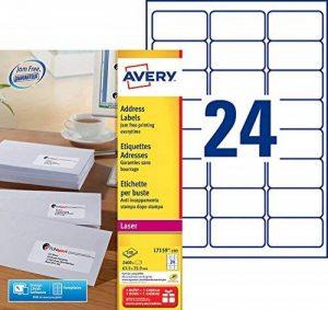 Avery L7159 Boîte de 2400 Etiquettes Autocollantes (24 par Feuille) - 63,5x33,9mm - Impression Laser - Blanc de la marque Avery image 0 produit