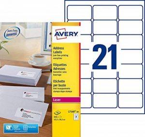 Avery L7160 Boîte de 840 Etiquettes Autocollantes (21 par feuille) - 63,5 x 38,1mm - Impression Laser - Blanc de la marque Avery image 0 produit