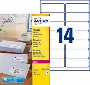Avery L7163-40 Boîte de 560 Etiquettes Autocollantes (14 par Feuille) - 99,1x38,1mm - Impression Laser - Blanc de la marque Avery image 0 produit