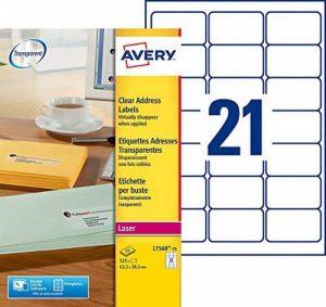 Avery L7560 525 Etiquettes Autocollantes (21 par feuille) - 63,5x38,1mm - Impression Laser - Transparent de la marque Avery image 0 produit