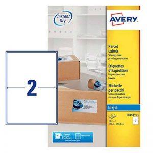 Avery Réf J8168-25 Étiquettes adresse Séchage instantané Jet d'encre 199,6 mm x 143,5 mm Blanc 2 étiquettes/feuille 50 étiquettes total (Import Royaume Uni) de la marque Avery image 0 produit