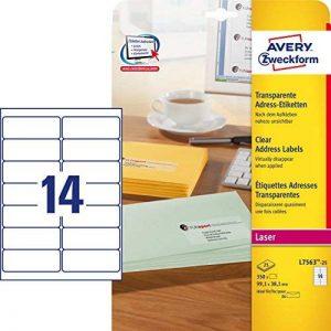Avery Zweckform L7563-25 Etiquettes transparentes 99,1 x 38,1 mm 25 feuilles (Import Allemagne) de la marque Avery image 0 produit