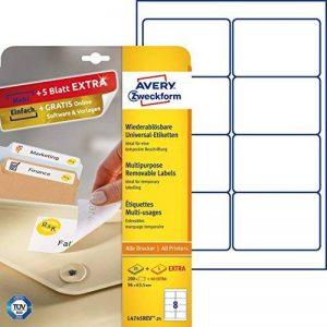 Avery Zweckform Paquet de 200 étiquettes repositionnables 96 x 63,5 mm (Blanc) (Import Allemagne) de la marque Avery image 0 produit