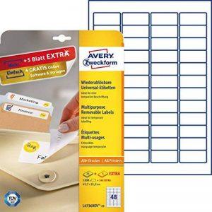 AVERY/Zweckform Stick+Lift étiquettes, 45,7 x 21,2mm,blanches de la marque Avery image 0 produit