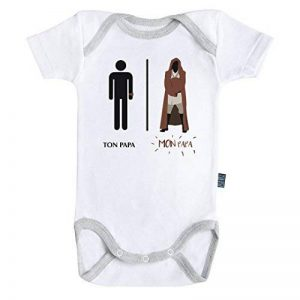 Baby Geek Mon papa de la force - Ma super famille - Body Bébé manches courtes - Coton - Blanc - Coutures grises Parent de la marque Baby Geek image 0 produit