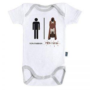 Baby Geek Mon parrain de la force - Ma super famille - Body Bébé manches courtes - Coton - Blanc - Coutures grises Parent de la marque Baby Geek image 0 produit