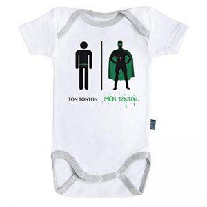 Baby Geek Mon super tonton - Ma super famille - Body Bébé manches courtes - Coton - Blanc - Coutures grises Parent de la marque Baby Geek image 0 produit