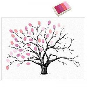 Ballylelly Creative Fingerprints Peinture Party Invité Signature Sign-in Livre Toile avec Tampon encreur DIY Tree Decor pour la Noce (Rose) de la marque Ballylelly image 0 produit