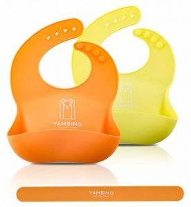 Bavoir imperméable pour bébé en silicone avec nettoyage facile. Set de 2couleurs (Rose/Mauve) yambino® de la marque Yambino image 0 produit