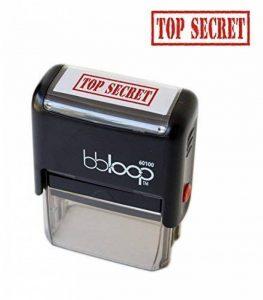 """Bbloop Tampon encreur """"Top Secret"""" auto-encreur, rectangulaire. gravé au laser Rouge. de la marque bbloop image 0 produit"""