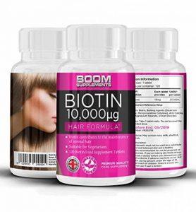 Biotine Cheveux (Vitamine B8) 10 000 mcg | 120 Biotin comprimés | cure de 4 mois | Meilleur Complément pour Favoriser la Croissance Rapide des Cheveux | Idéal : Femmes, Hommes, Végétariens de la marque Boom-Supplements image 0 produit