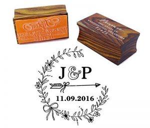 Bois Mounted Tampon encreur personnalisé Monogramme Stamp Engagement Cadeau de la marque Printtoo image 0 produit