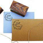 Bois Mounted Tampon encreur personnalisé Monogramme Stamp Engagement Cadeau de la marque Printtoo image 2 produit