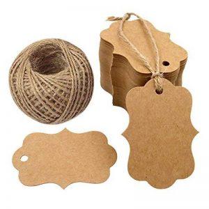 Cadeau Craft étiquettes 100pcs Kraft accrocher étiquette avec 30metres Ficelle de jute, 5cm * 7cm, parfait comme étiquettes de mariage; étiquettes à bagage; Marron suspendre Tag marron de la marque G2PLUS image 0 produit