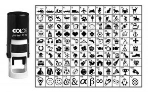 Choisissez votre Stamp Icône ronde en caoutchouc personnalisé auto-encrage COLOP Mini Stamper 12 mm-encre noire de la marque Printtoo image 0 produit