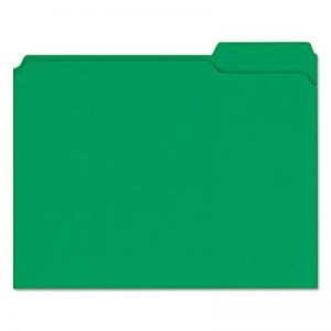 Colored File Folders, 1/3 Cut Assorted, Two-Ply Top Tab, Letter, Green, 100/Box de la marque Universal image 0 produit