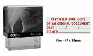 COPIE VRAIE CERTIFIÉE D'UN DOCUMENT ORIGINAL Tampon encreur Auto-encreur Imprimante personnalisée Colop 30 Tampon stationnaire de bureau et commercial de la marque PrintValue image 0 produit
