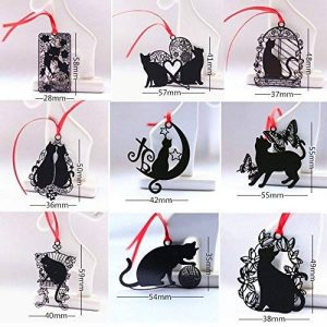 Cute Animal Cartoon Cat Signets magnétiques Creative Black Cat Metal Bookmark avec Red Strap (9pcs Black Cat) de la marque 7 COLOR WINGS image 0 produit