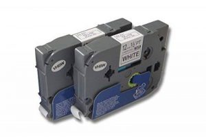 Deux cassettes à ruban Cartouche 12mm pour Brother P-Touch 200 310 550 900 1010 1090 1200 1280 1750 1800 2000 2460 2480 3600 9400 9600 comme TZ-231 de la marque vhbw image 0 produit