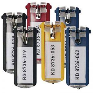 Durable 195701 KEY CLIP Porte-clés avec Porte-étiquette Personnalisable pour armoire à clés KEYBOX Coloris Assortis (2 Noir - 2 Bleu - 1 Jaune - 1 Rouge),Lot de 6 de la marque Durable image 0 produit