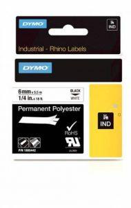 Dymo 1805442 Étiquettes Industrielles Autocollantes en Polyester Rhino, 6mmX5,5M, Impression en Noir sur Fond Blanc de la marque DYMO image 0 produit