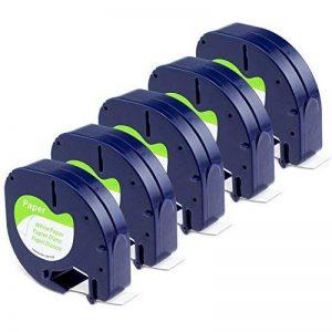 Dymo LetraTag, 5x Remplacer pour Dymo LetraTag Ruban Papier 91200 S0721510 Compatible avec Dymo LetraTag LT-100H LT-100T Étiqueteuse Portable (12 mm x 4 m, Noir sur Blanc) de la marque Aken image 0 produit