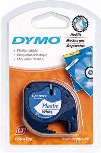 Dymo LetraTag Ruban Plastique 1,2 cm x 4 m - Noir sur Blanc de la marque DYMO image 0 produit