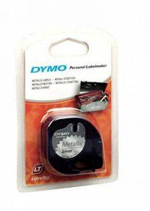 DYMO Ruban d'Etiquettes Autocollantes Multi-usages LetraTag, 12mm, Cassette de 4m, Impression en Noir sur Métallique Argenté (1743603) de la marque DYMO image 0 produit
