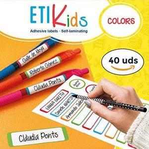 ETIKids 40 Étiquettes adhésives laminées personnalisables polyvalentes (color) pour la garderie et l'école de la marque Haberdashery Online image 0 produit