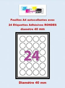 Etiquettes Adhésives - 360 étiquettes papier rondes - cercle de diametre 40 mm ( 4 cm) - Blanc Mat - pour imprimantes Laser et Jet d'encre - 15 Feuilles A4 autocollantes de la marque UNIVERS GRAPHIQUE image 0 produit