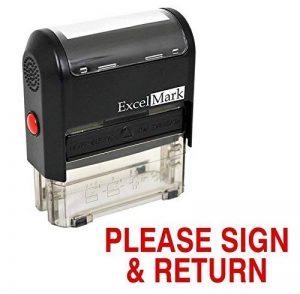 Excelmark Veuillez signer et retour auto-encreur Tampon en caoutchouc–ENCRE Rouge (42a1539web-r) de la marque ExcelMark image 0 produit