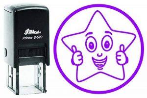 Happy étoile brillante ronde 20mm auto-encreur Tampon en caoutchouc enfants professeur Tampon 20 MM Violet de la marque YogiStamps image 0 produit