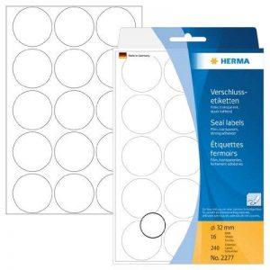 Herma 2277 Étiquettes fermoirs extrafortes rondes diamètre 32 mm 240 pièces Transparent de la marque HERMA image 0 produit