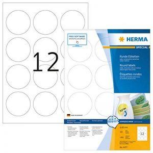 Herma 4477 Étiquettes movables/amovibles diamètre 60 A4 1200 pièces Blanc de la marque HERMA image 0 produit