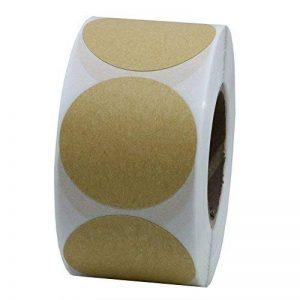 hybsk 38mm rond Sticker Papier Kraft étiquettes Joints emballage Loisirs Créatifs Mariage Étiquette pour Total 500étiquettes par rouleau 1 roll de la marque Hybsk image 0 produit