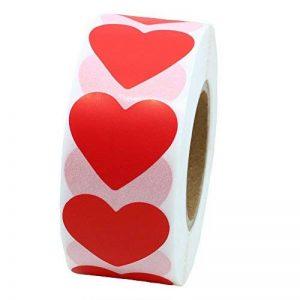hybsk CODE COULEUR Étiquettes à pois 30mm Coeur Love Papier naturel autocollants étiquette adhésive 1000par rouleau rouge de la marque Hybsk image 0 produit