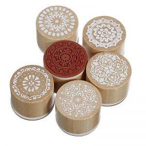 Itian Lot de 6 Rond Tampons en Bois et en Caoutchouc Rétro Motif Timbres de la marque Itian image 0 produit