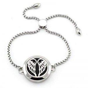 Joymiao Ailes d'ange Bracelet Diffuseur d'aromathérapie Huile essentielle Médaillon avec bijoux de cristal – Réglable Turn-cuff Bracelet et 8 Patins feutre de la marque JOYMIAO image 0 produit