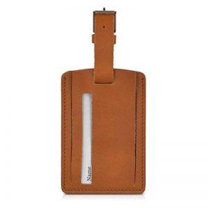 kalibri Étiquette Cuir Valise - Tag Porte-étiquettes Bagage Sac de Voyage Carte nom adresse - Couleur Cognac - env. 10 x 7 cm de la marque kalibri image 0 produit