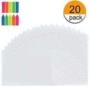 KESOTO Lot de 20 Pochette Plastique Transparentes, A4 Pochette Porte Document avec 100 Flèche 100 Carré Autocollant d'étiquette de la marque KESOTO image 0 produit