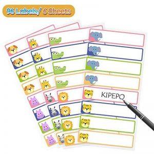 KIPEPEO Etiquettes multifonctions Autocollantes Nom Étiquette Résistant à l'eau Durable pour les Bouteilles de Poubelle Bocaux Boîte à lunch, Nom Étiquettes 16 par Feuille 1 Stylo (96 Étiquettes) de la marque KIPEPO image 0 produit
