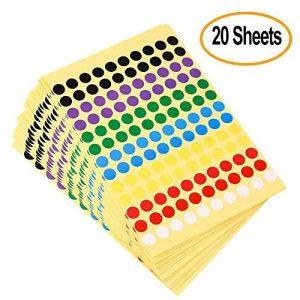 Kuuqa 20 Feuilles Autocollant adhésif autocollant Labels Étiquette de codage couleur ronde 8mm, 7 Couleurs, 2600 points de la marque KUUQA image 0 produit