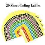Kuuqa 20 Feuilles Autocollant adhésif autocollant Labels Étiquette de codage couleur ronde 8mm, 7 Couleurs, 2600 points de la marque KUUQA image 3 produit