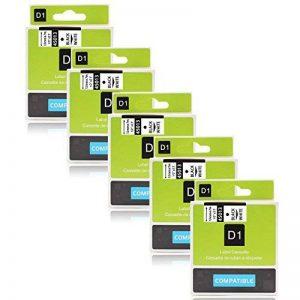 Labelwell 12mm Compatible DYMO D1 45013 S0720530 Noir sur blanc Rubans d'étiquettes Cassette d'étiquette stratifiée adhésive standard pour Dymo LabelManager 160 280 260P 360D 500TS LabelWriter 450 DUO Rhino LabelPoint 150 250 Étiqueteuse, Paquet de 5 (1/2 image 0 produit