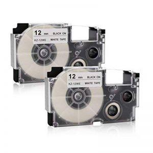 Labelwell 12mm XR-12WE Noir sur blanc Rubans- 2 Rouleaux Compatible Casio XR-12WE XR12WE XR-21WE2S XR12WE2S Rubans d'étiquettes Cassette d'étiquette stratifiée adhésive standard pour Casio KL-60 KL-120 KL-820 KL-60SR KL-70e KL-100e KL-100 KL-200 KL-200E K image 0 produit
