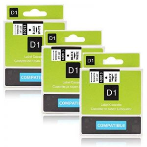 """Labelwell 3 Rouleaux 9mm Compatible DYMO D1 40913 S0720680 Noir sur Blanc Ruban-Étiquette adhésive laminée standard pour Dymo LabelManager 160 280 260P 360D 500TS LabelWriter 450 DUO Rhino LabelPoint 150 250 (3/8"""" x 23',9mm x 7m) de la marque Labelwell image 0 produit"""