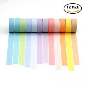 Laconile décoratifs Lot de 12rouleaux de papier doux coloré Série solide Couleur Craft Washi Ruban adhésif de masquage DIY rubans étiquettes papier ruban 15mmx3m de la marque Laconile image 0 produit