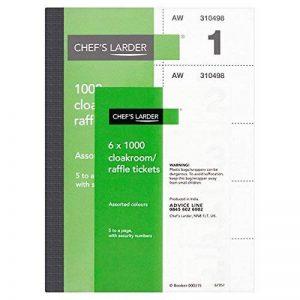 Larder Vestiaire / Billets de tombola du chef 6 x 1000 (pack de 6s) de la marque Chef's Larder image 0 produit