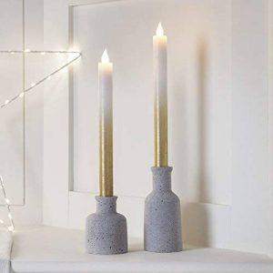 Lights4fun Lot de 2 Bougies de Chandelier LED en Cire Dorée Effet Ombré à Piles de la marque Lights4fun image 0 produit
