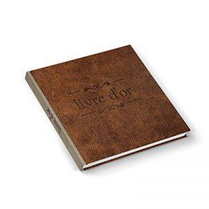 Livre d'or Livre d'or d'or de mariage carré Marron Vintage imitation cuir Nostalgie titre Français 21x 21cm Mariage Anniversaire anniversaire acier de la marque Logbuch-Verlag image 0 produit